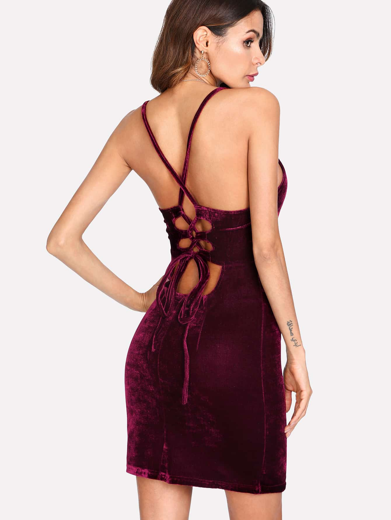 Lace Up Open Back Velvet Cami Dress criss cross lace up open back cami dress