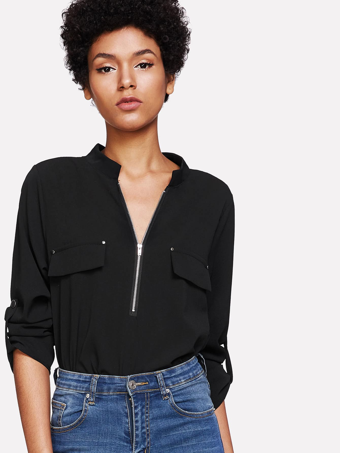 Curved Hem Zip Up Front Top