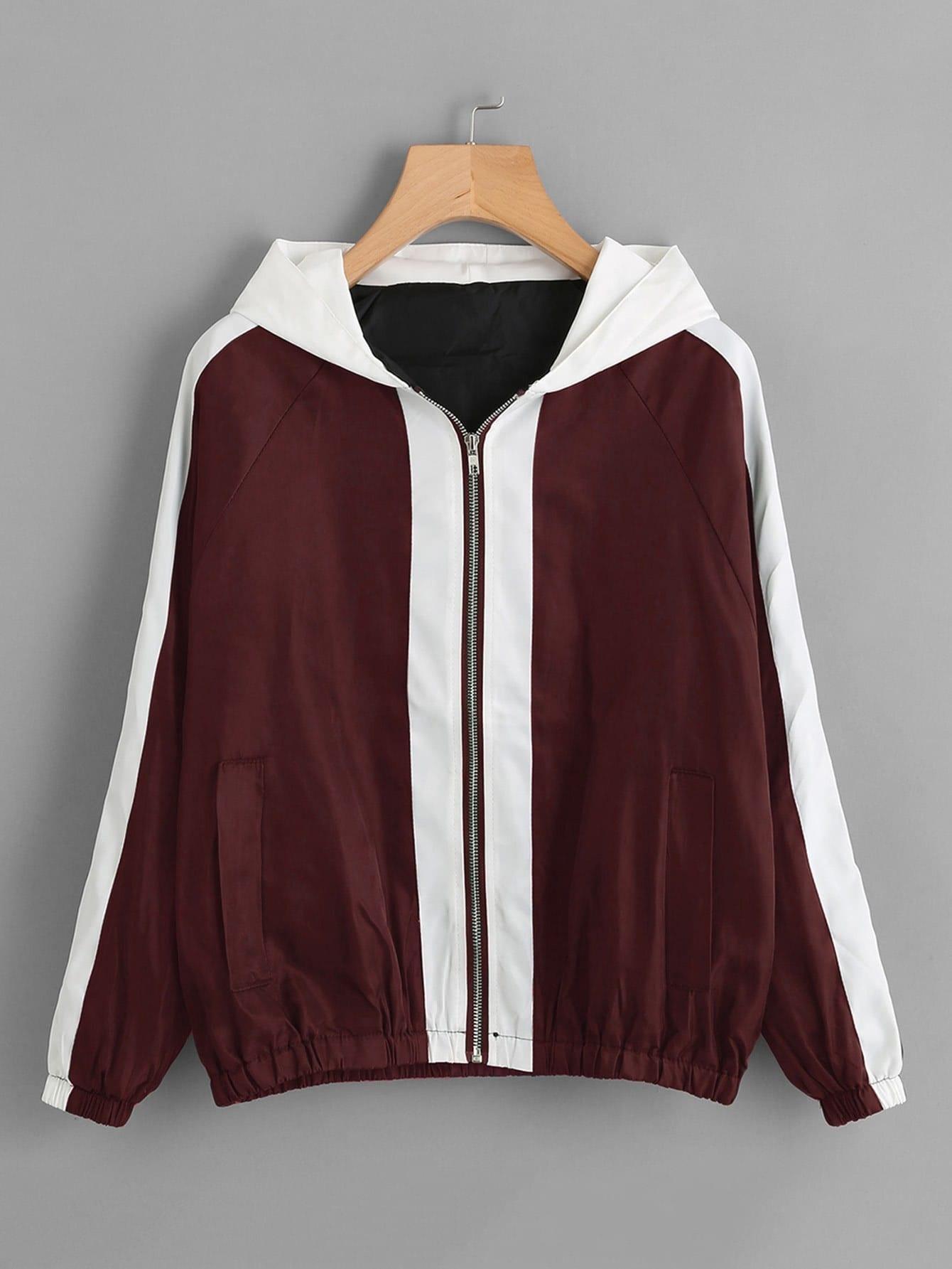 Contrast Panel Letter Embroidered Raglan Sleeve Jacket letter print gingham raglan sleeve jacket