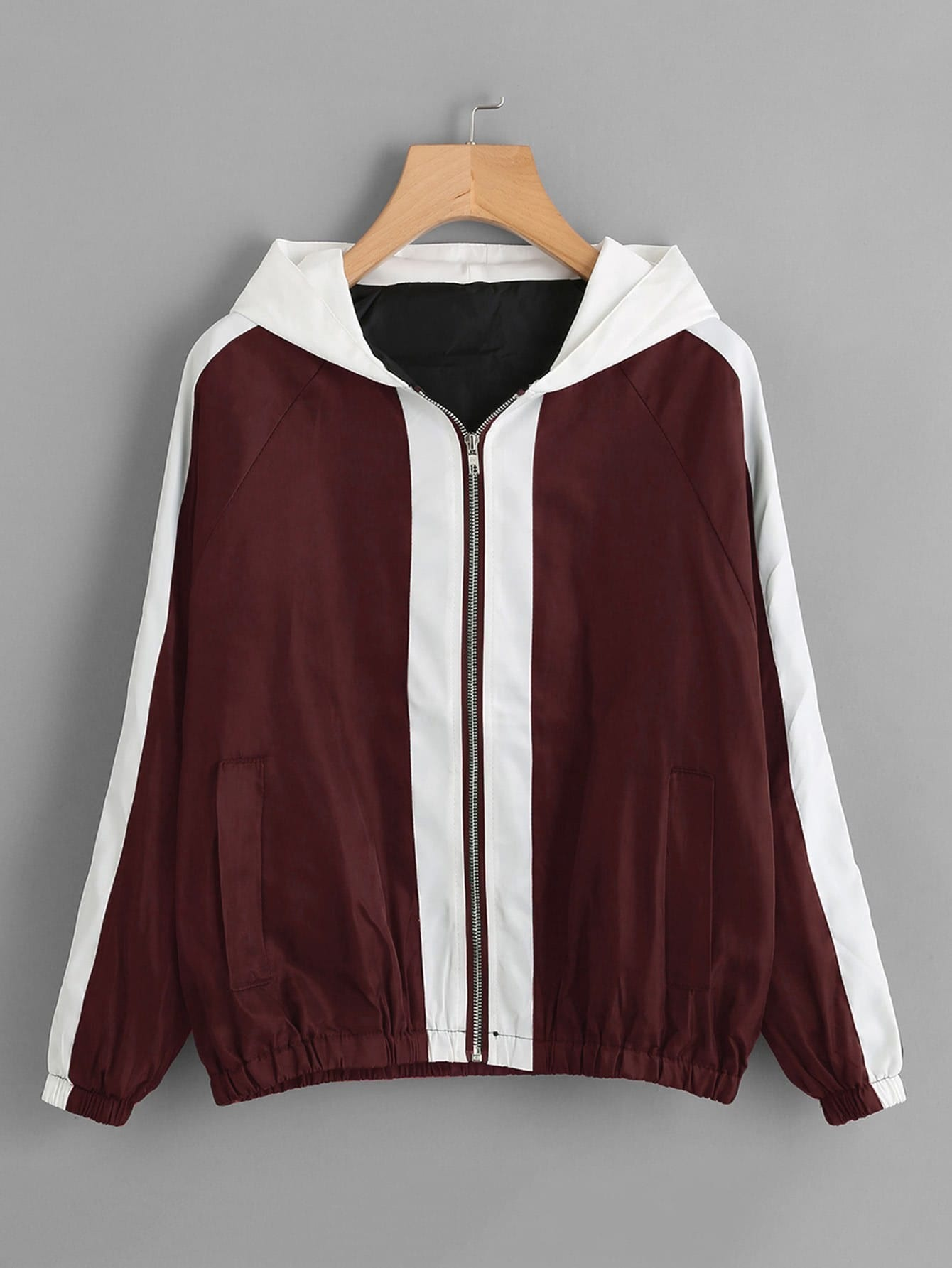 Contrast Panel Letter Embroidered Raglan Sleeve Jacket