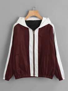 Contrast Panel Letter Embroidered Raglan Sleeve Jacket