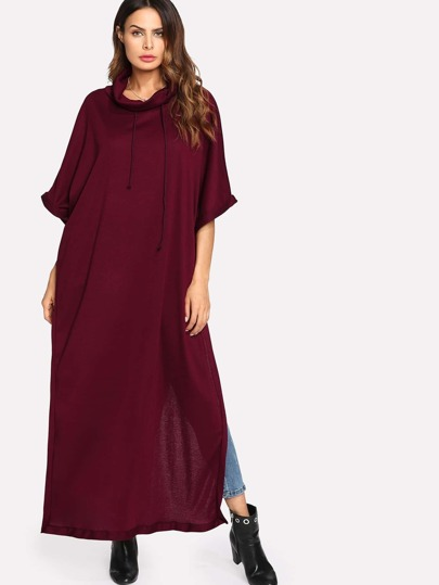 Drawstring Neck Slit Side Kaftan Dress