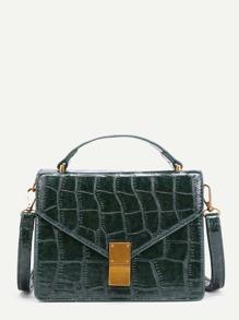 Crocodile Print Flap PU Crossbody Bag