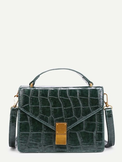 Crocodile Print Flap PU Crossbody Bag