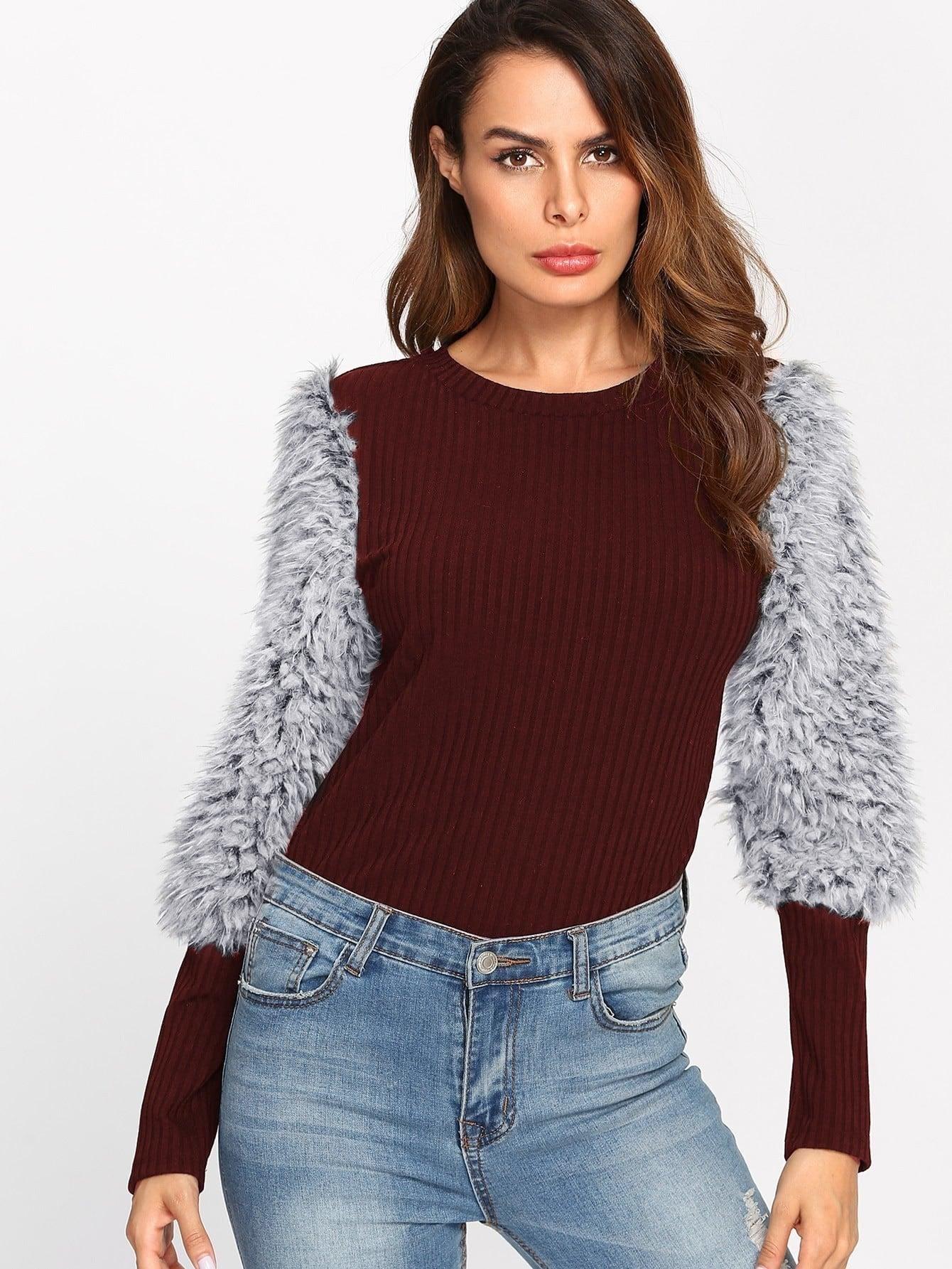Rib Knit T-shirt With Faux Fur Sleeve cutout front rib knit t shirt