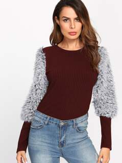 Rib Knit T-shirt With Faux Fur Sleeve