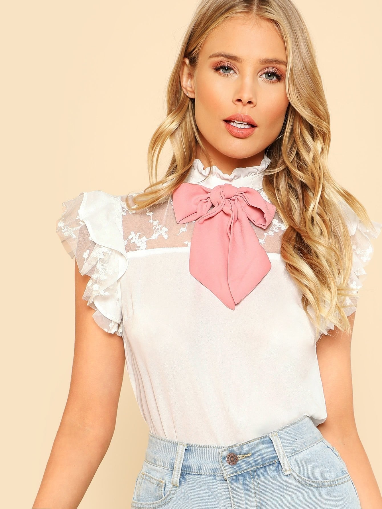 Tie Neck Embroidered Mesh Yoke Top contrast embroidered mesh yoke bow tie striped blouse