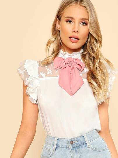 Tie Neck Embroidered Mesh Yoke Top