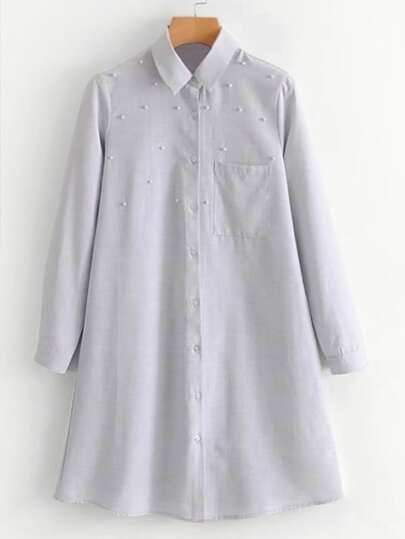 Faux Pearl Shirt Dress