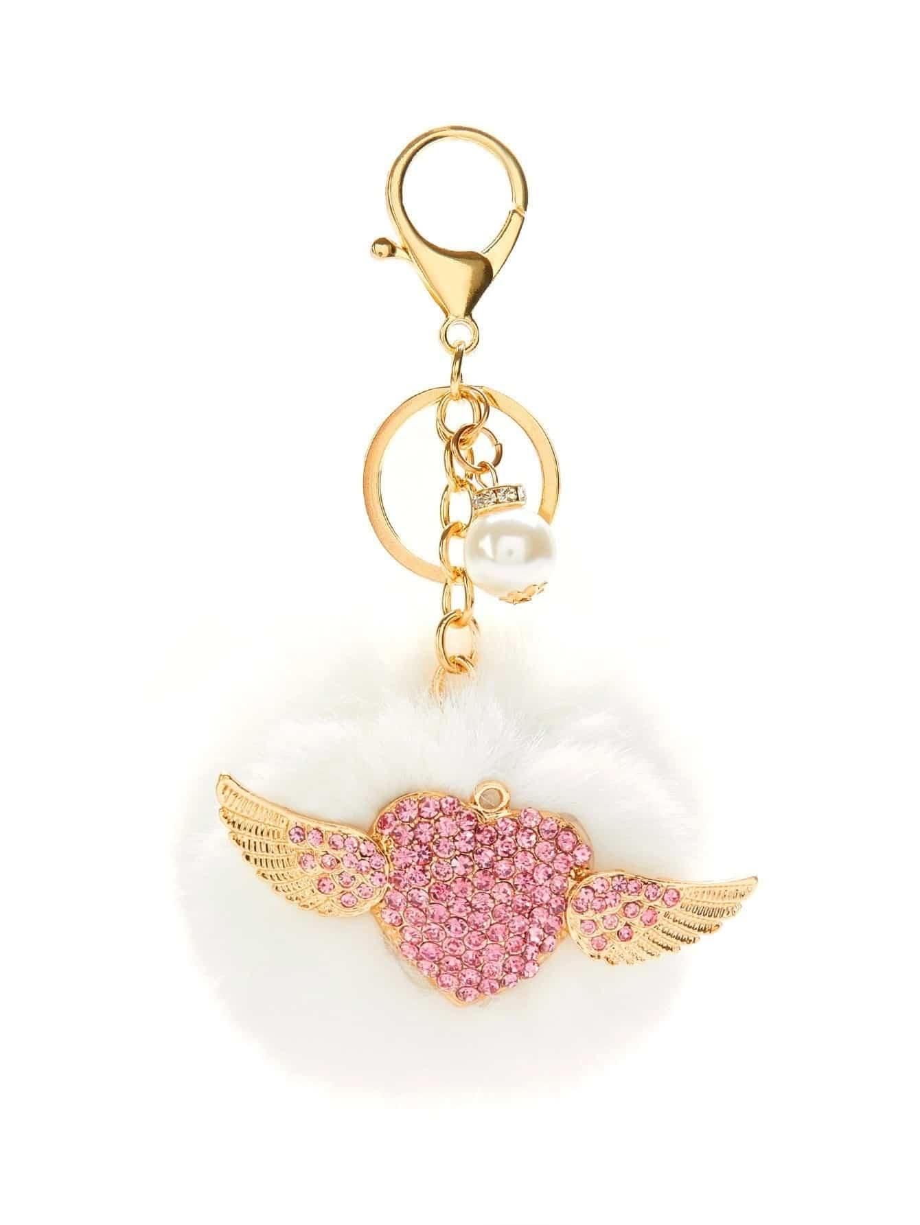 Angel Wings Detail Pom Pom Keychain