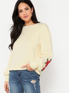 Rose Patch Sleeved Sweatshirt