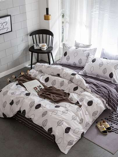 1.8m 4Pcs Leaf Print Duvet Cover Set