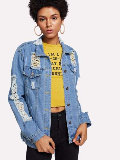 Extreme Distressing Denim Jacket