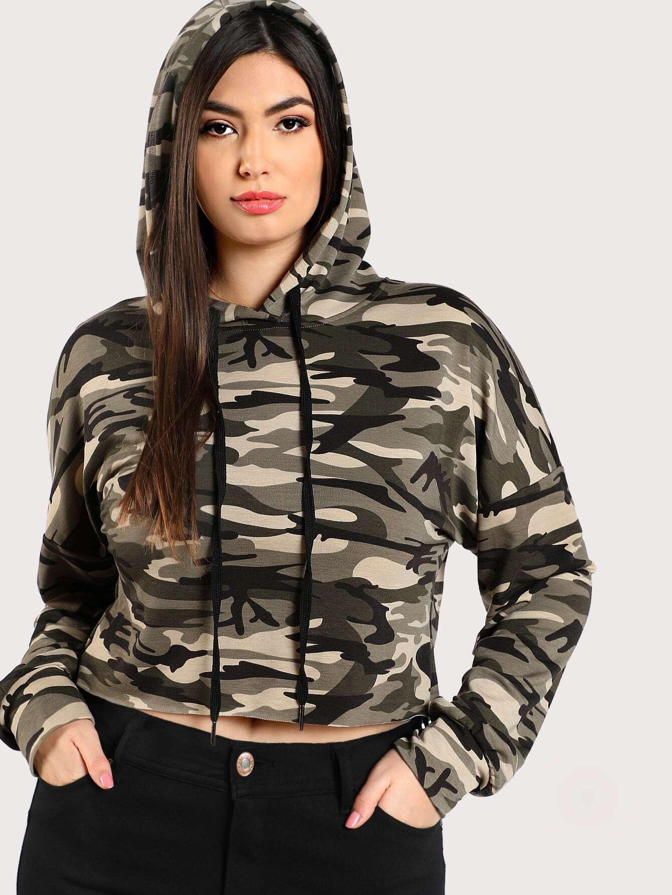 Drop Shoulder Crop Camo Hoodie drop shoulder water color crop sweatshirt