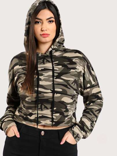 Drop Shoulder Crop Camo Hoodie