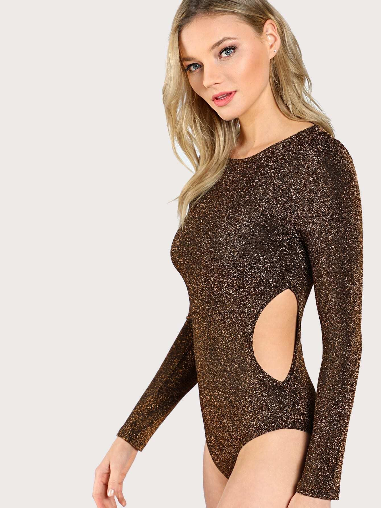 все цены на Cut Out Side Glitter Bodysuit