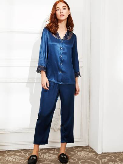 Embroidered Lace Trim Satin Pajama Set