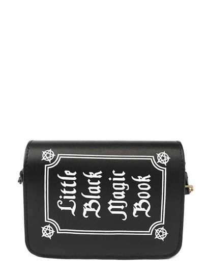 Letter Print Flap Shoulder Bag