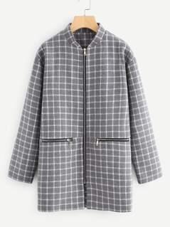 Stand Collar Zip Up Grid Coat