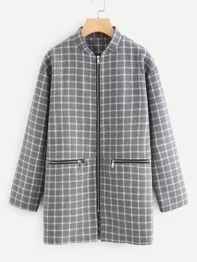 Stand Collar Zip Up Grid Coat