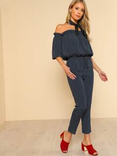 Polka Dot Off Shoulder Jumpsuit NAVY