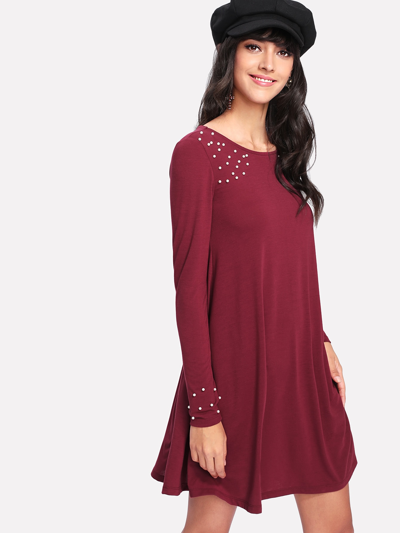 Pearl Beaded Detail Dress frill layered pearl detail sweatshirt dress