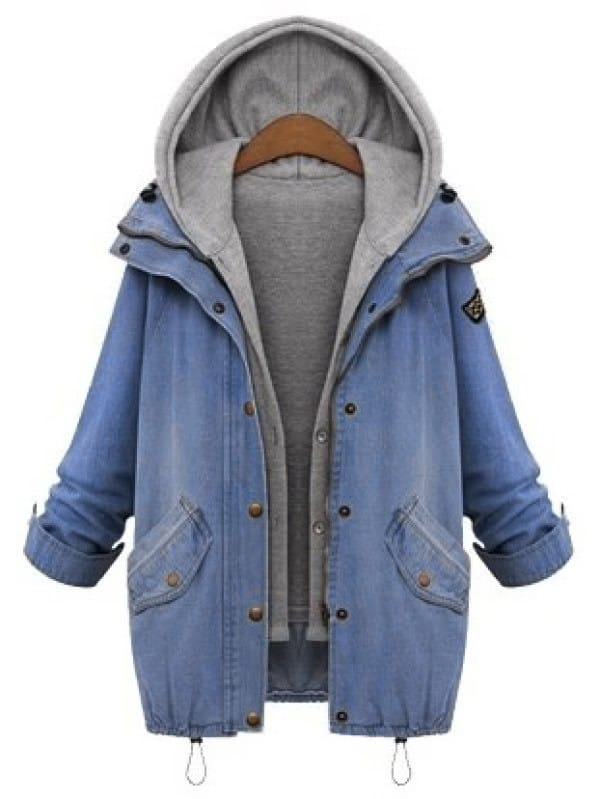 Hooded Drawstring Boyfriend Trends Jean Swish Pockets Two Piece Coat stylish hooded drawstring boyfriend trends pockets women s jean coat