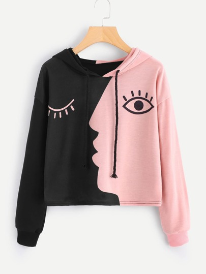 Color Block Eye Print Hoodie