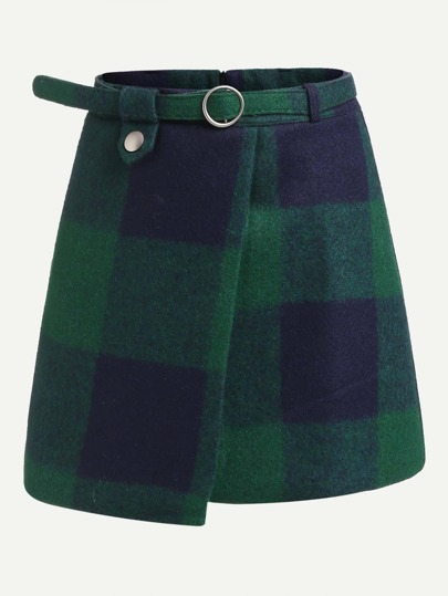 Plaid Asymmetrical Front Layer Skirt