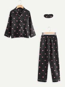 Heart Print Contrast Piping Pajama Set