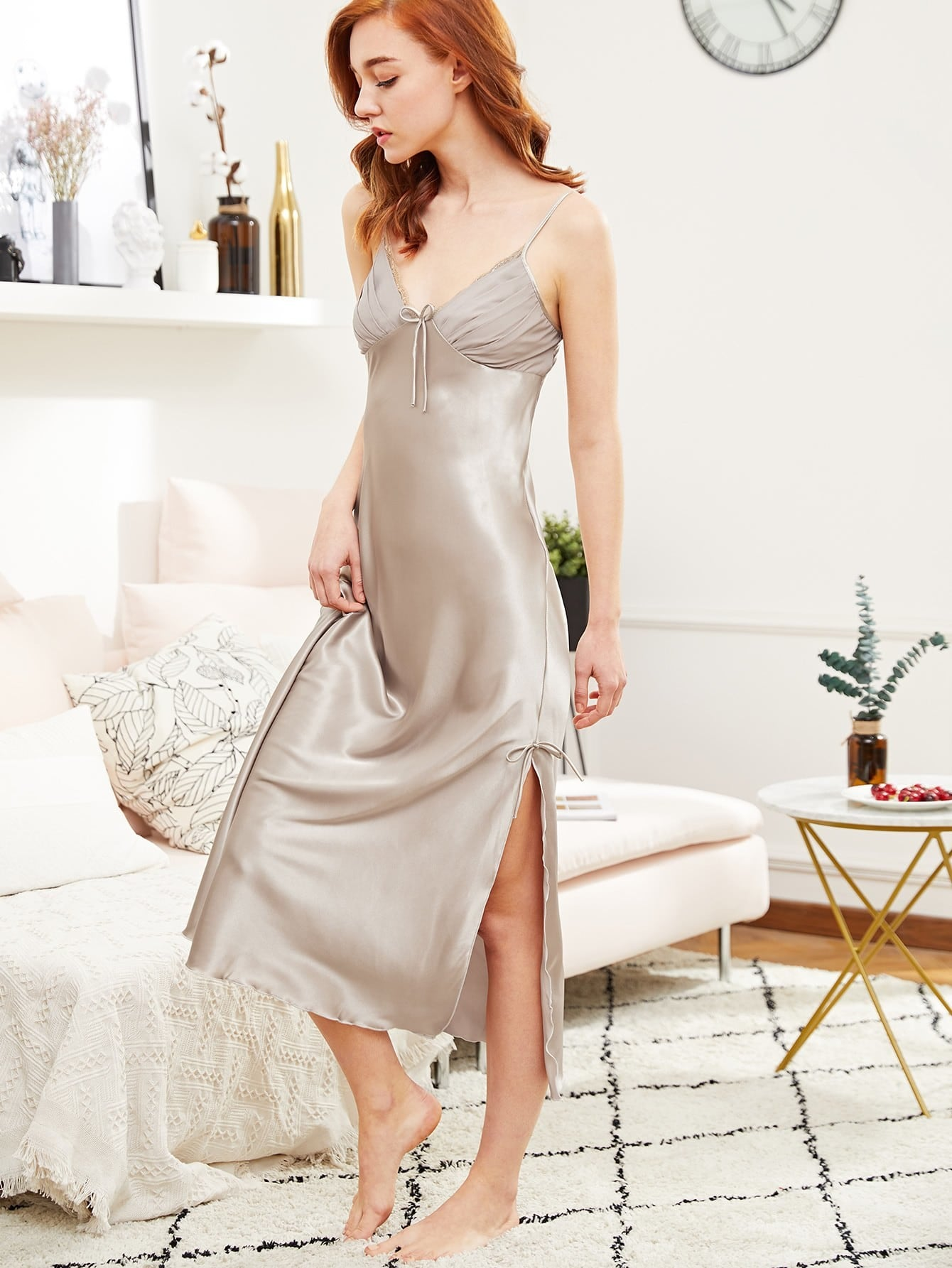 Satin Slit Hem Cami Night Dress для охоты