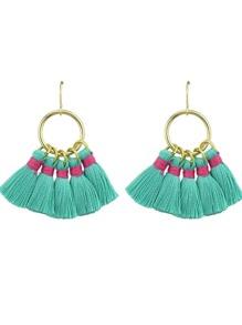 Green Boho Style Party Earrings Colorful Tassel Drop Earrings
