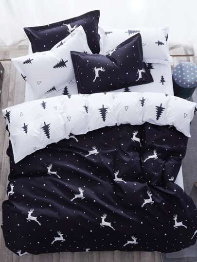 1.2m 4Pcs Deer & Tree Duvet Cover Set