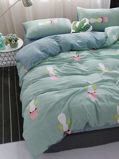 2.2m 4Pcs Cactus Print Bedding Set