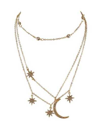 Multi Layer Chain Necklace Gold-Color Chain With Rhinestone Star Moon Charms Pendant Necklace
