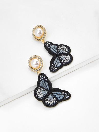 Butterfly Design Drop Earrings With Faux Pearl