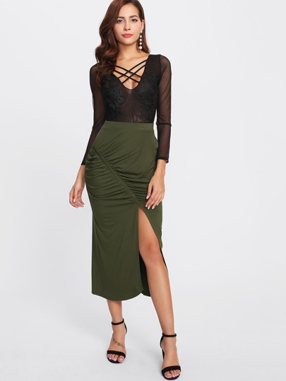 Split And Ruched Front Skirt