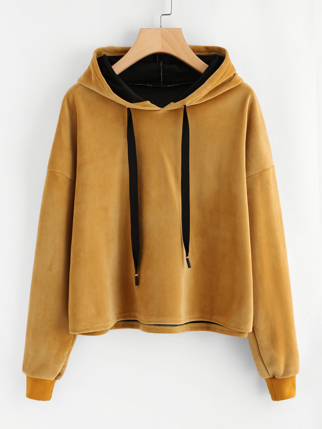 Drop Shoulder Velvet Hoodie drop shoulder ribbed velvet sweatshirt