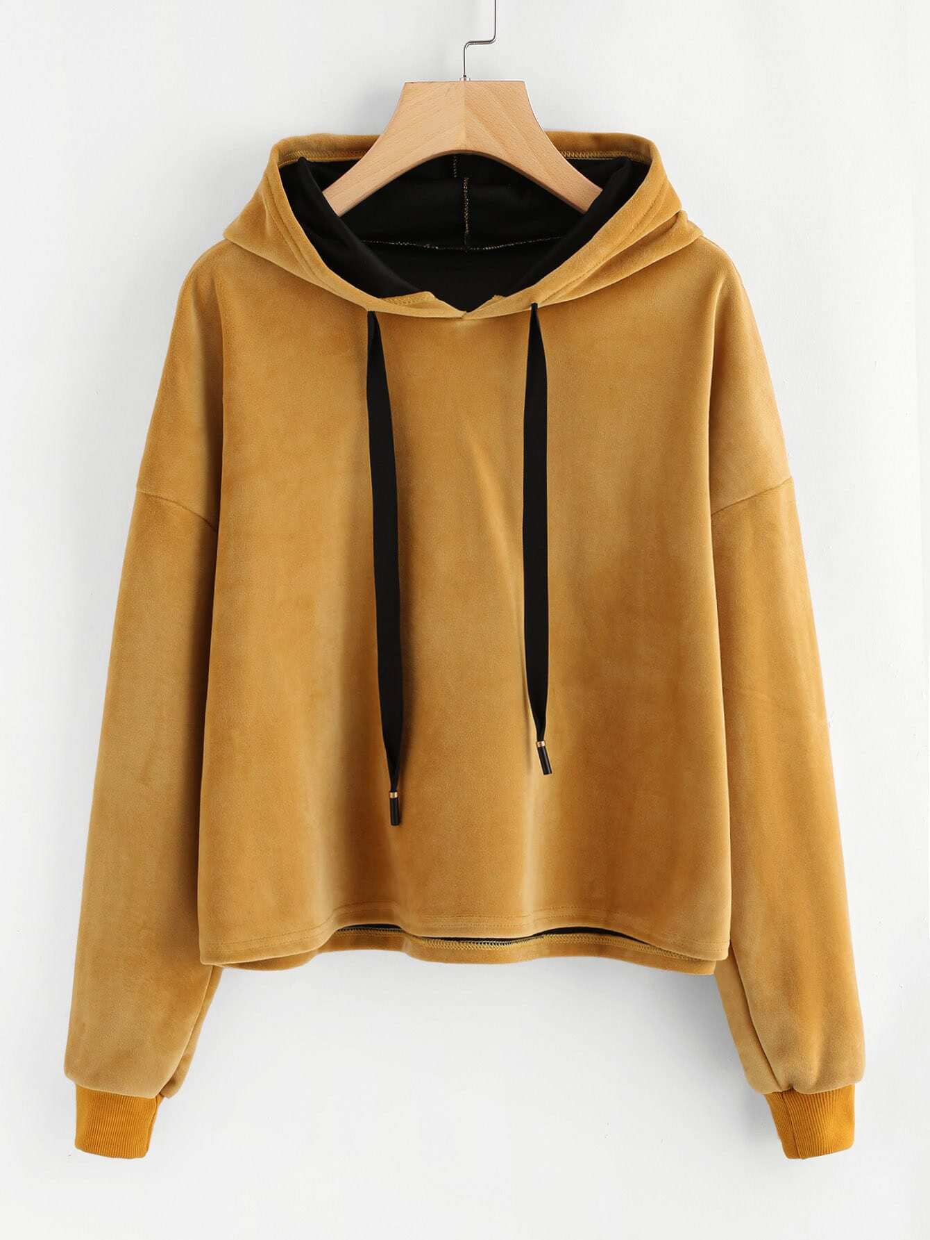 Drop Shoulder Velvet Hoodie