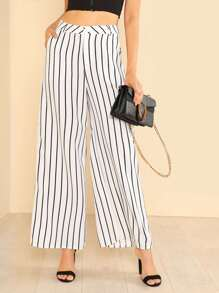 Stripe Wide Hem Pants WHITE BLACK