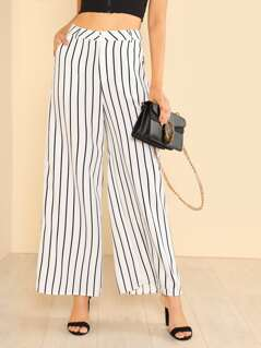 Stripe Wide Hem Pants WHITE BLACK