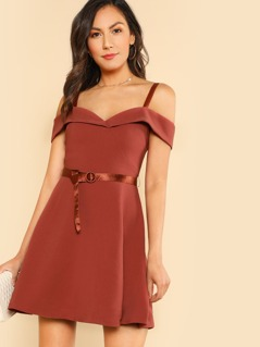Off Shoulder A Line Cocktail Dress CLAY