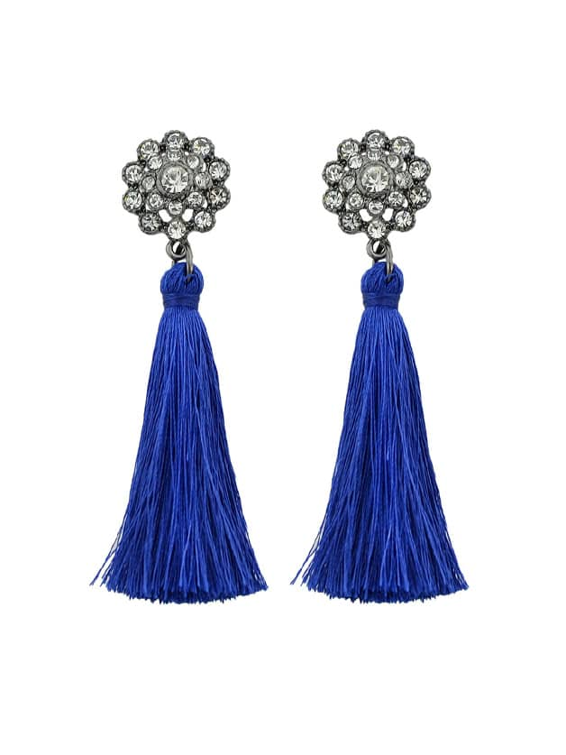 Blue Boho Earrings With Tassel And Rhinestone Drop Earrings цены онлайн