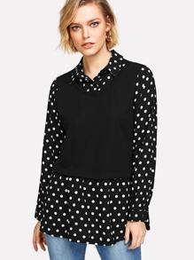 Contrast Spot 2 in 1 blouse
