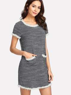 Pearl Beaded Trim Pocket Patched Dress