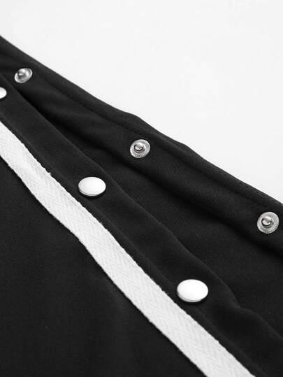 Romwe / Tape Detail Snap-Button Side Wide Leg Jumpsuit