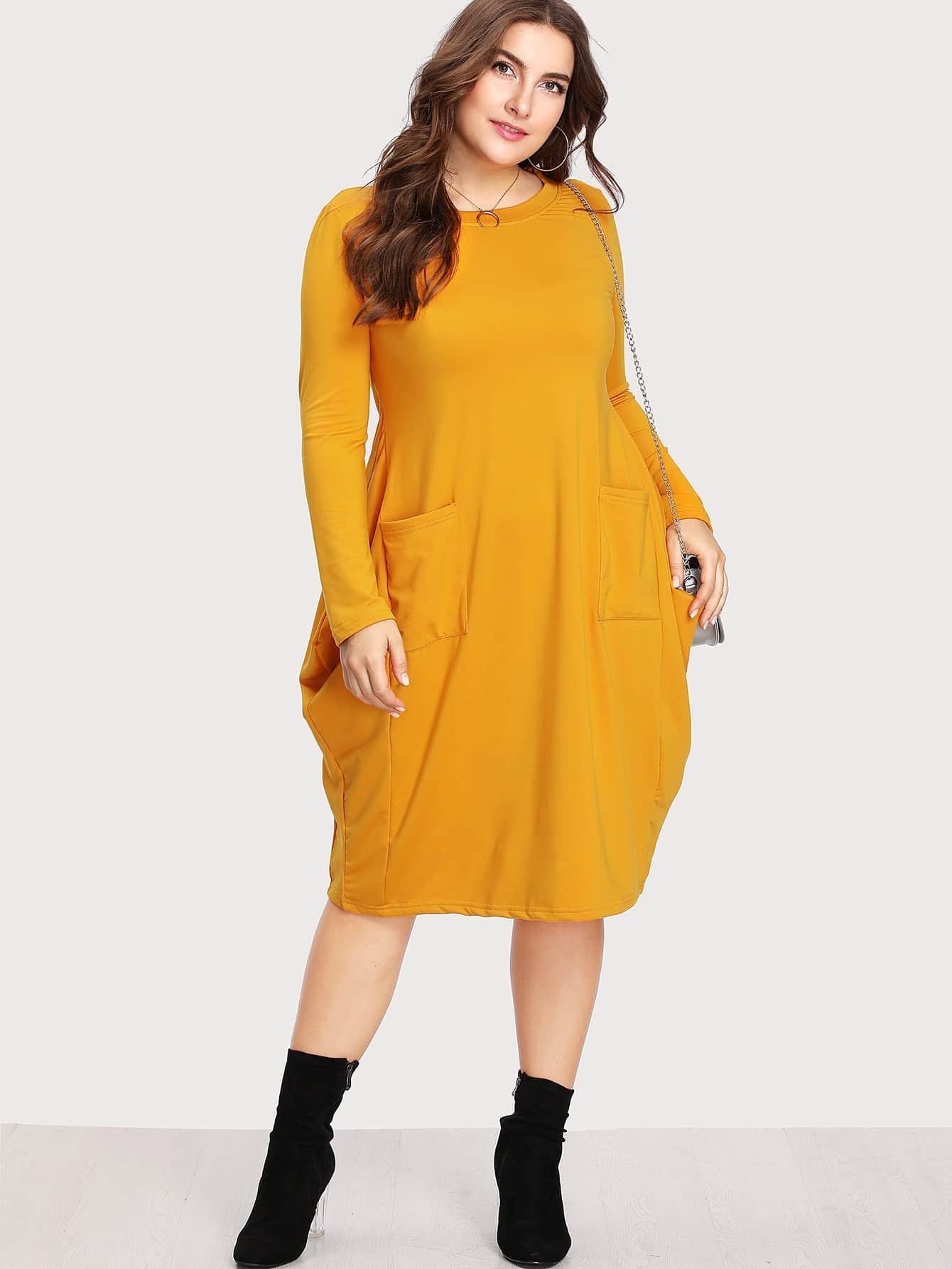 Plus Dual Pocket Cocoon Dress
