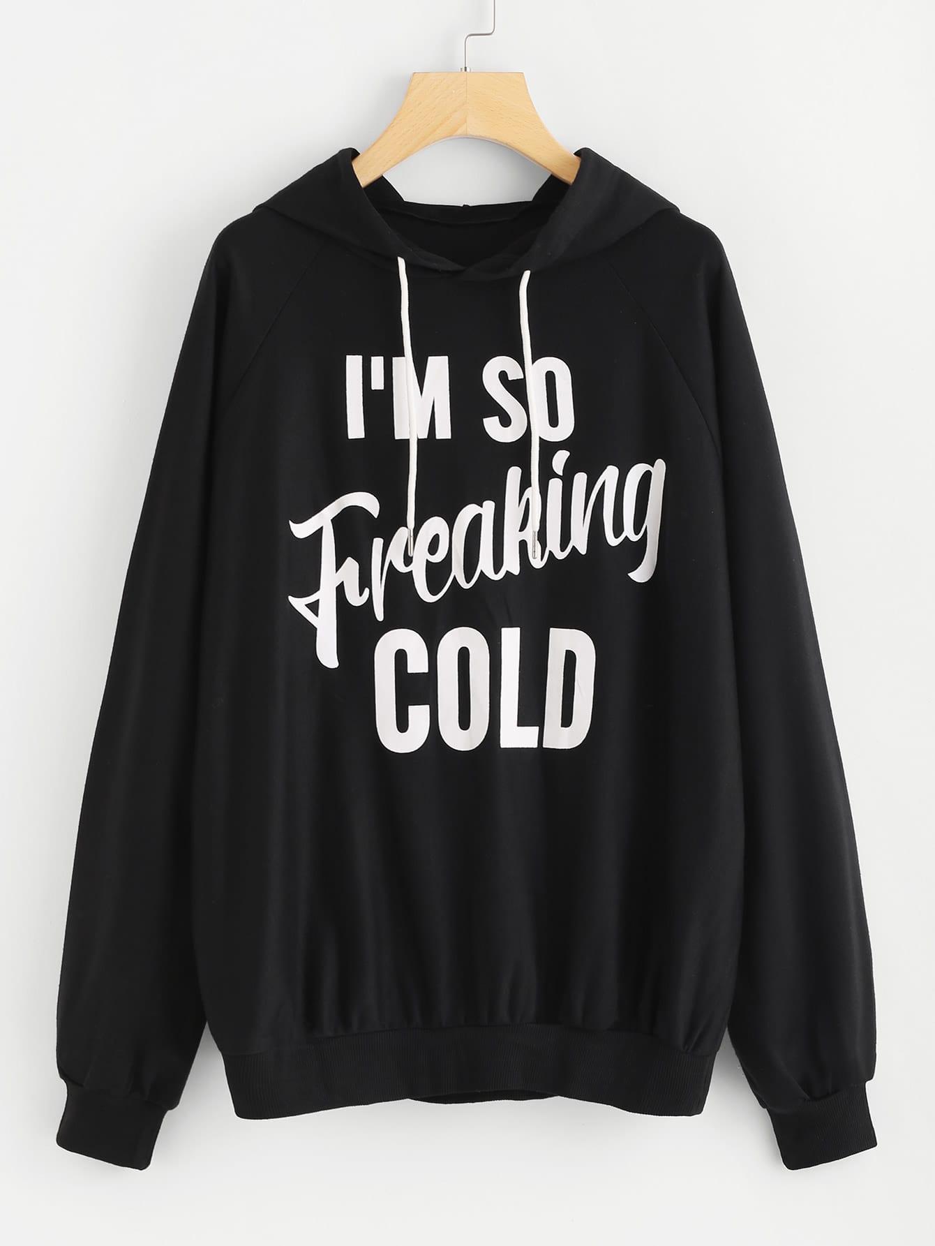 Slogan Print Raglan Sleeve Hoodie letter print raglan hoodie