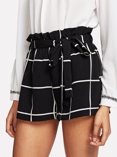 Ruffle Waist Self Belt Grid Shorts