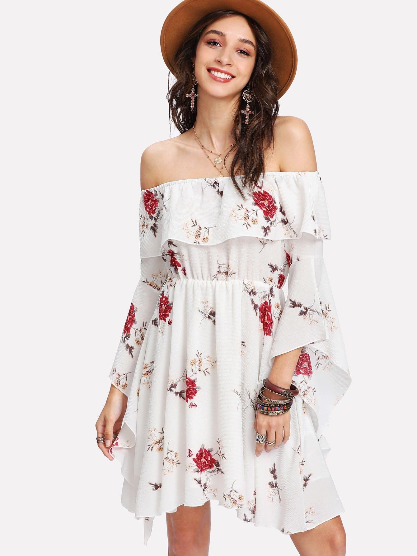Flounce Bardot Neck Trumpet Sleeve Floral Dress floral flounce bardot dress